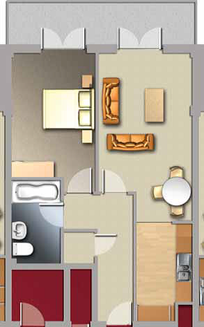Diagram of Jacobs Island Apartments 1-bed floorplan
