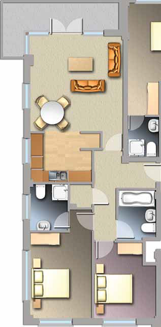 Diagram of Jacobs Island Apartment 2-bed Type A floorplan