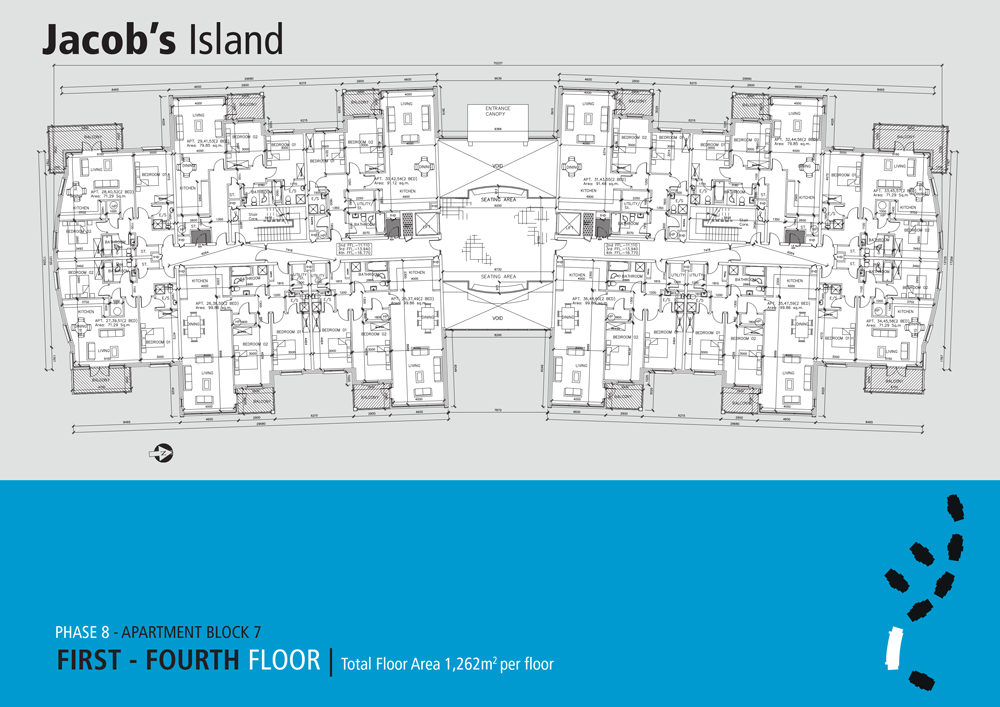 Jacobs Island Apartments Block 7 floorplan for first to fourth floors