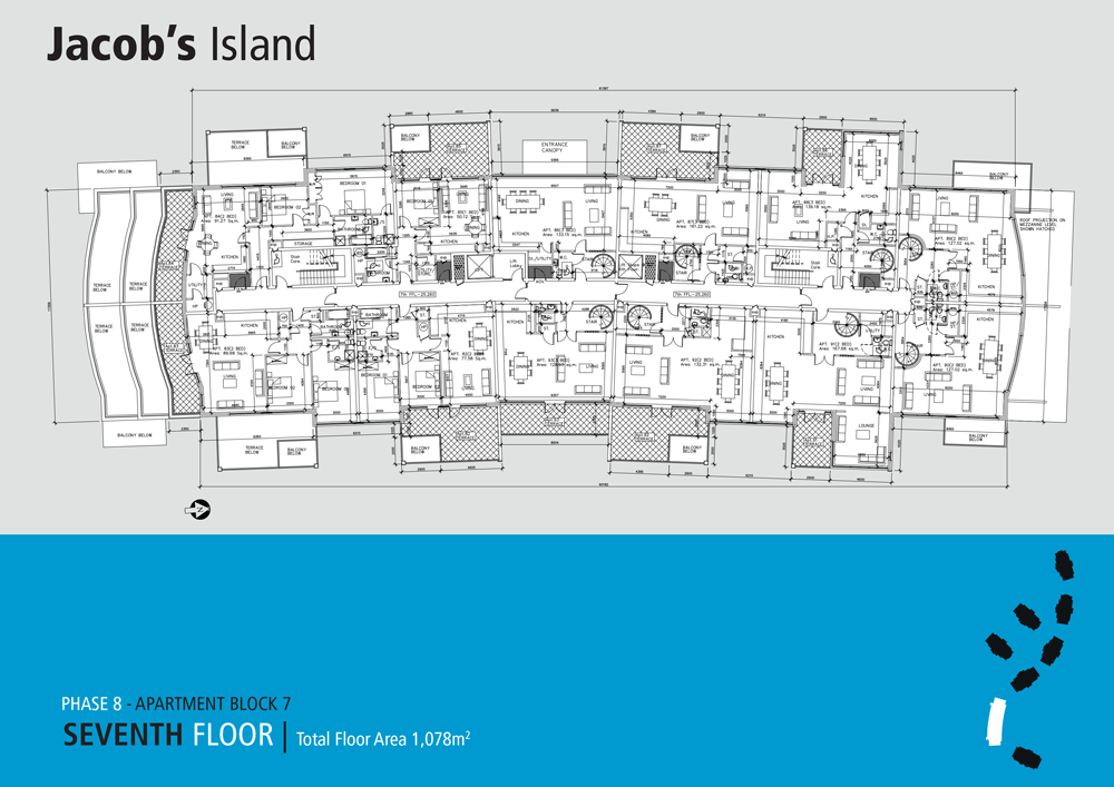 Jacobs Island Apartments Block 7 floorplan seventh floor