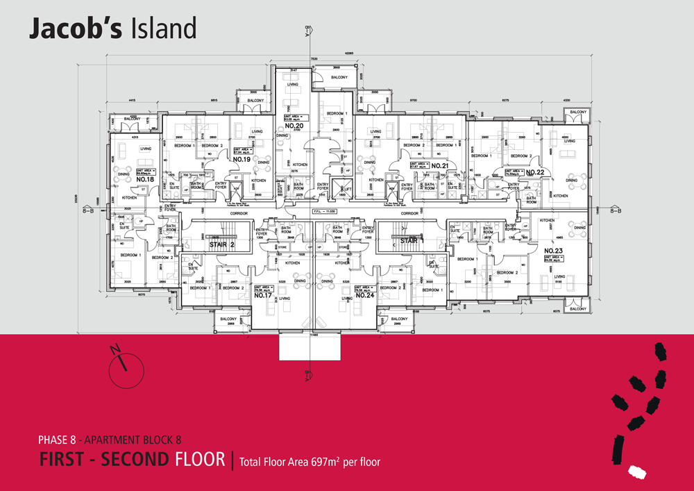 Jacobs Island Apartments Block 8 floorplan first and second floor