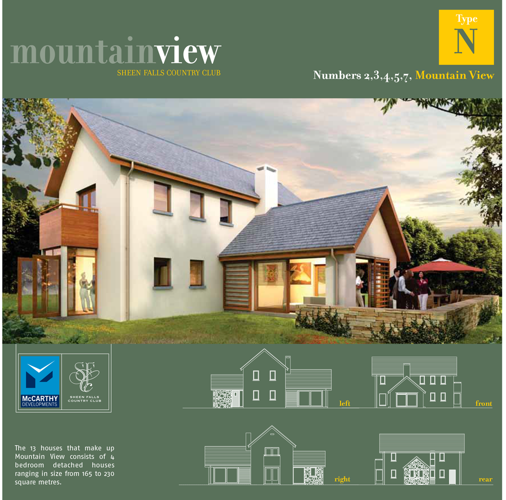 Sheen Falls Mountain View floorplan for numbers 2 3 4 5 7