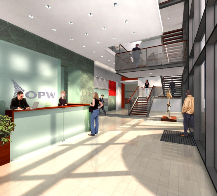Artist's impression of reception area Centre Park Boulevard