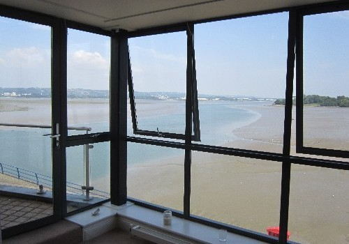 Photograph of internal corner window at Hartys Quay Apartments