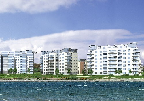 Artists impression of Jacobs Island Apartments new blocks viewed from water