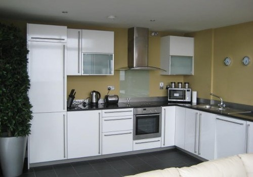 Photograph of Jacobs Island Residential white kitchen units